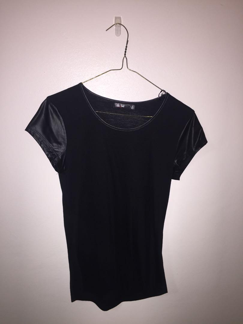 Black faux rather sleeve shirt