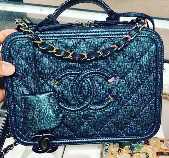 965f536ce79b BNIB Chanel Vanity Case Turquoise with Rainbow 🌈 Hardware! Medium ...