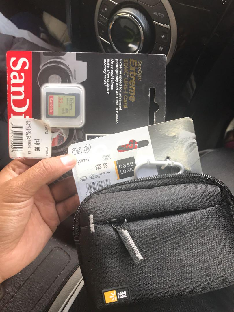 Camera case and SD card, all new not opened