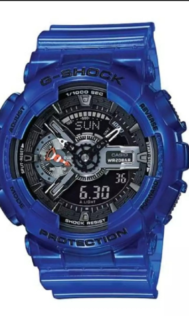 35fdc4aa8e79 Casio G-Shock Aqua Planet Coral Reef Color Translucent Ocean Water Blue Resin  Band Watch GA110CR-2A GA-110CR-2A