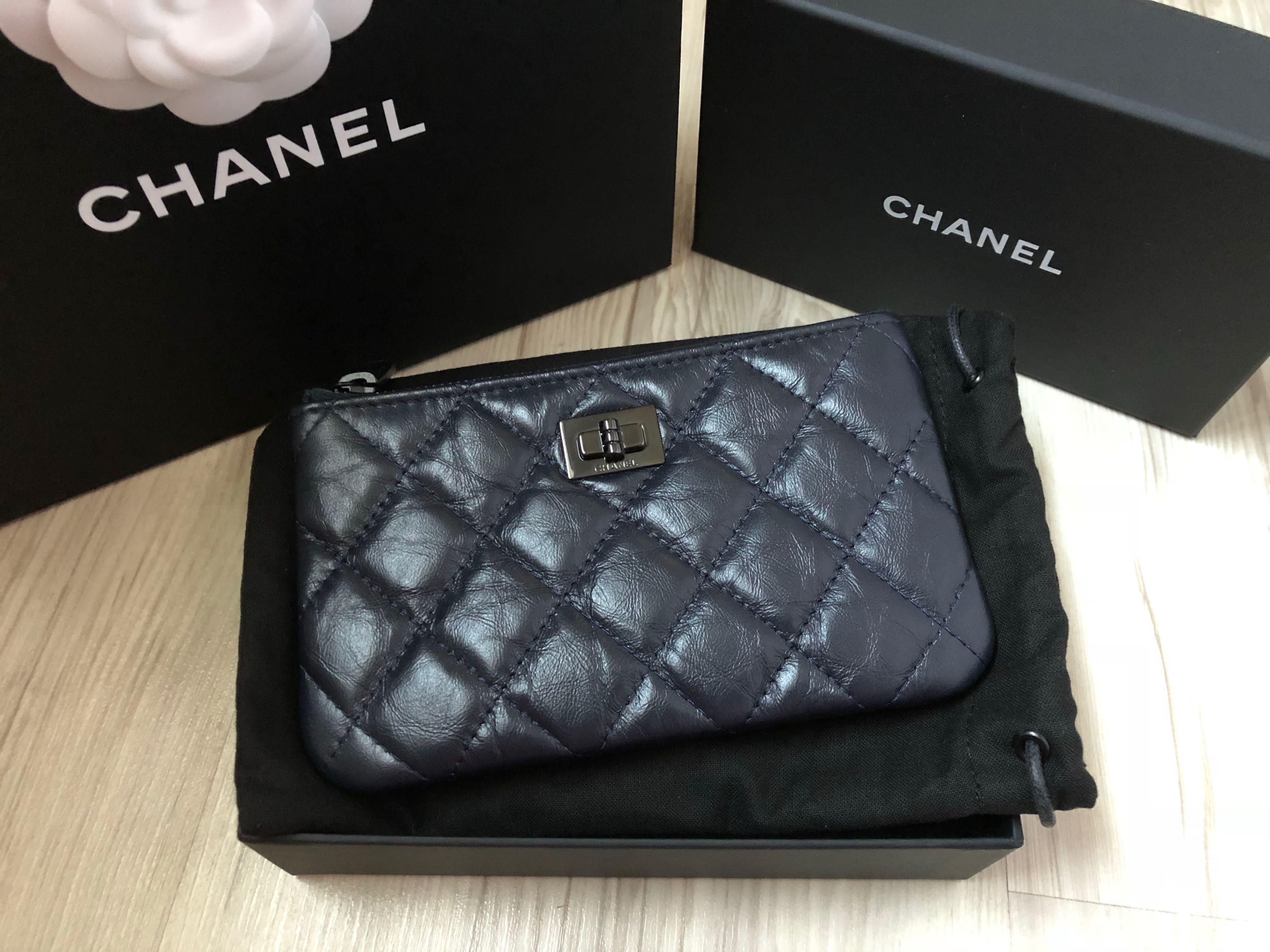 b9c9ffcf1cc5 Chanel Mini O Case Reissue Dark Navy Black HW, Luxury, Bags & Wallets,  Wallets on Carousell