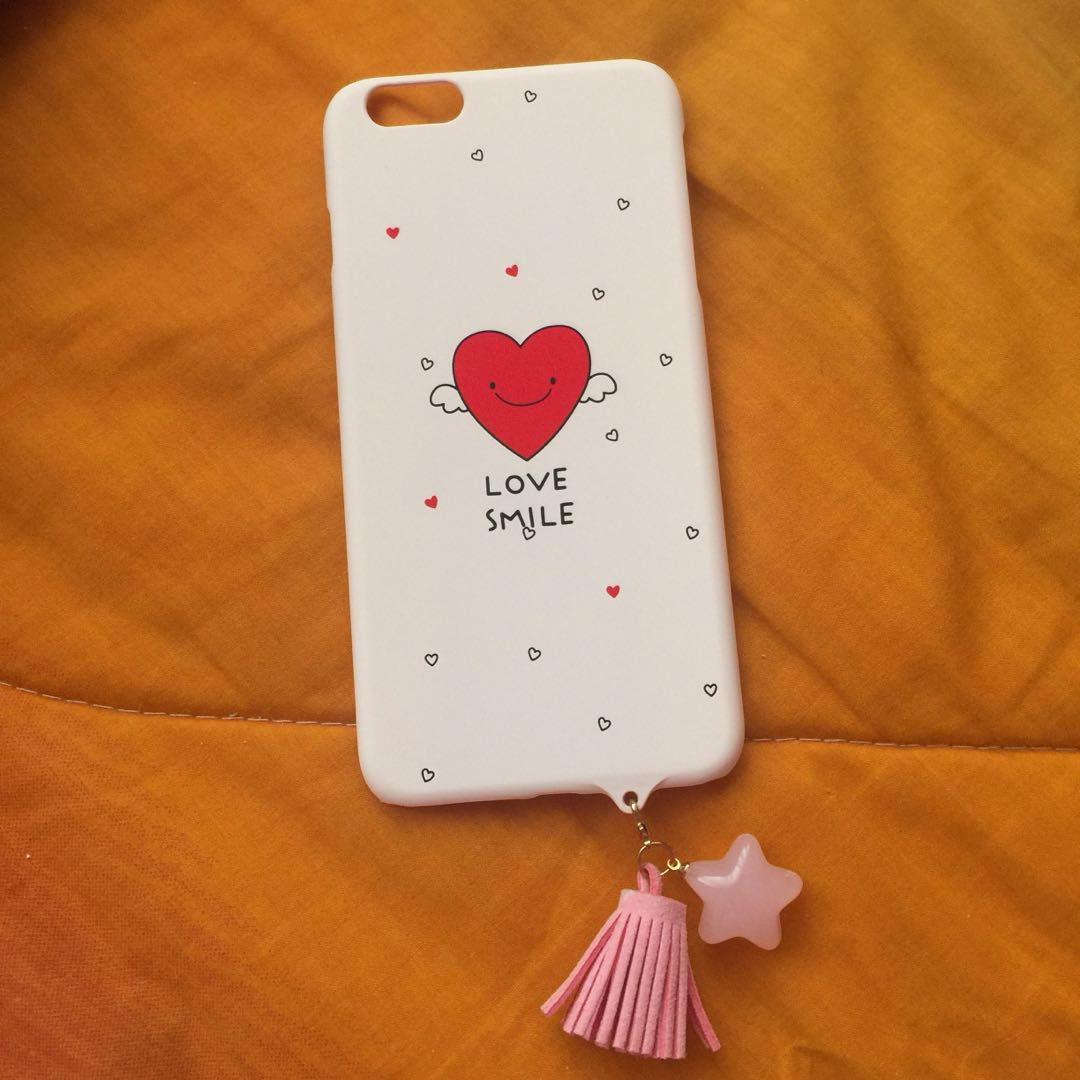 Iphone 6+ Love Smile Pink Matte Hard Case with Tassel Star 487f52e28f9