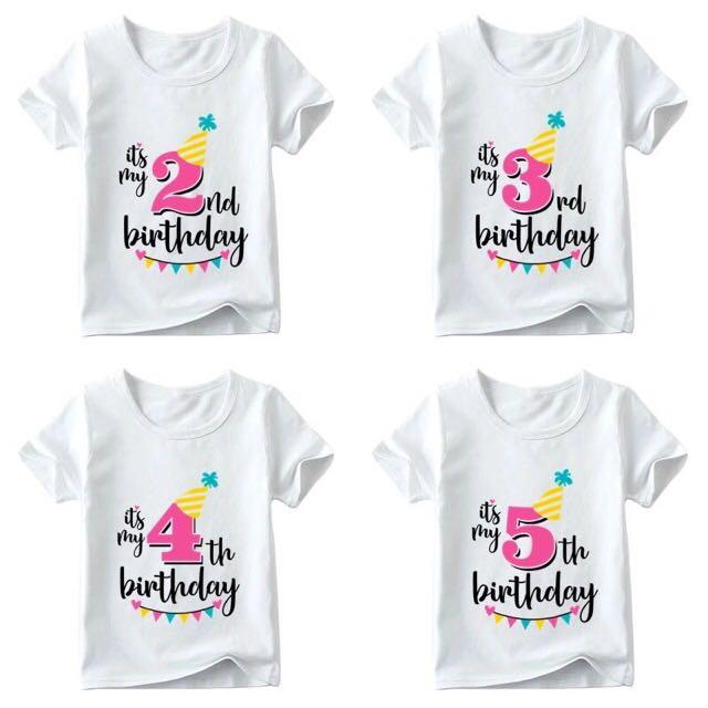Kids Birthday T Shirt Babies Girls Apparel 4 To 7 Years
