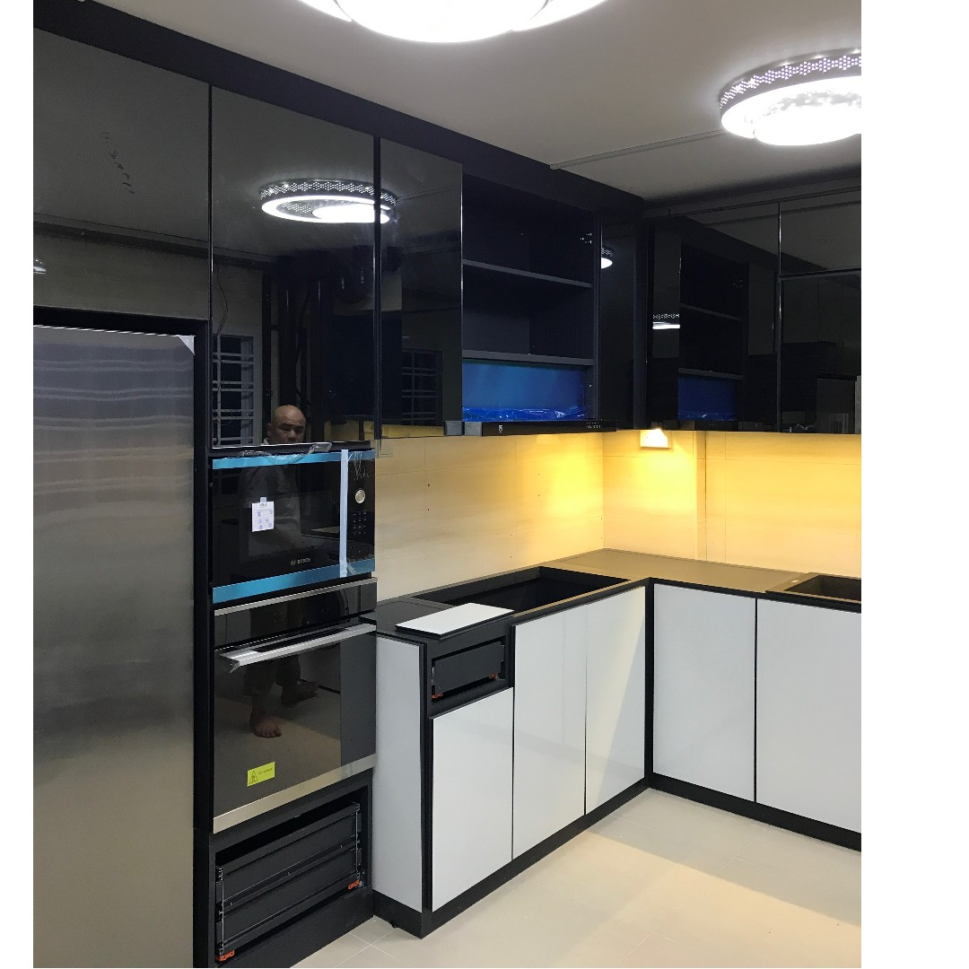Kitchen Cabinet Built In Tall Unit Tempered Glass Furniture Home