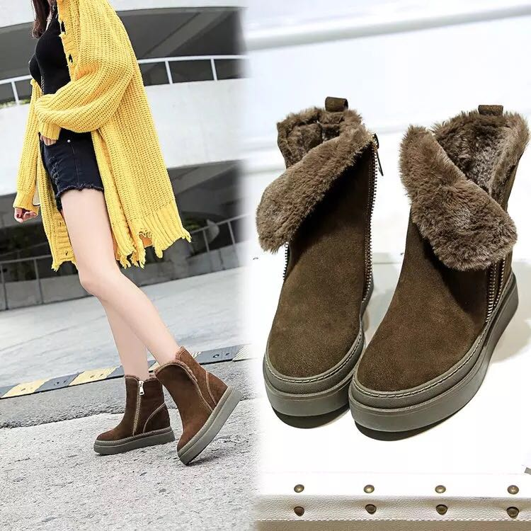 c69f2108af Plus velvet thick bottom increased female short tube snow boots fur short  boots children winter 2018 new warm cotton shoes tide