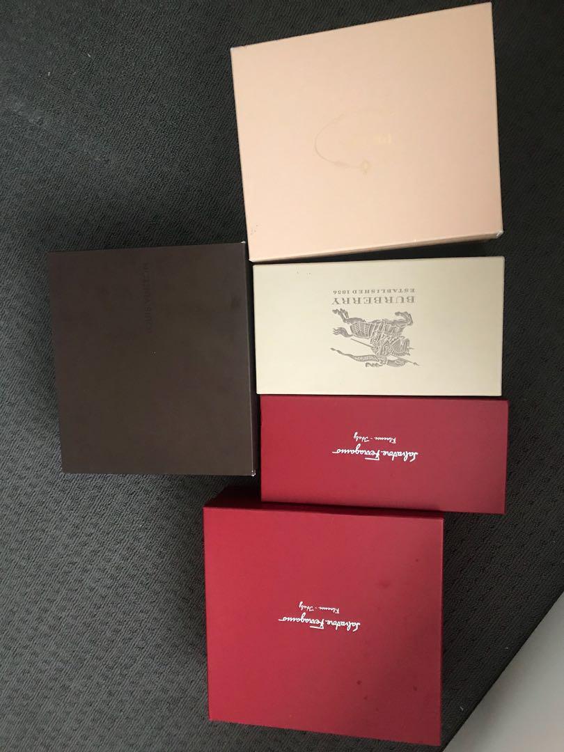 Prada, Burberry, Louis Vuitton, Ferragamo shoe boxes