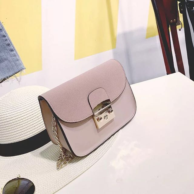 bfdf2e2a18 (REDUCED) Ready Stock Furla Inspired Pink Chain Sling Bag