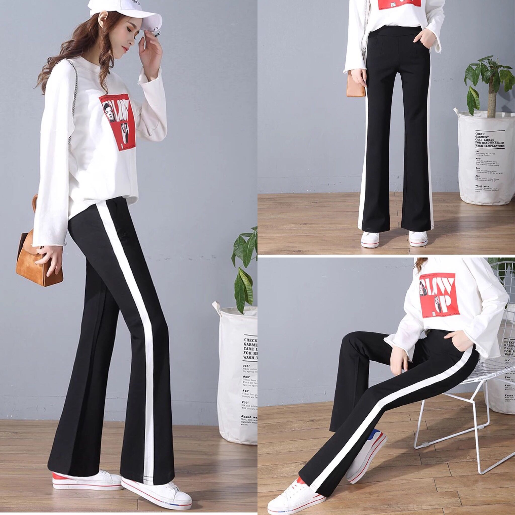 12270093292 S~4XL) Micro bell bottom pants female spring and autumn Korean ...
