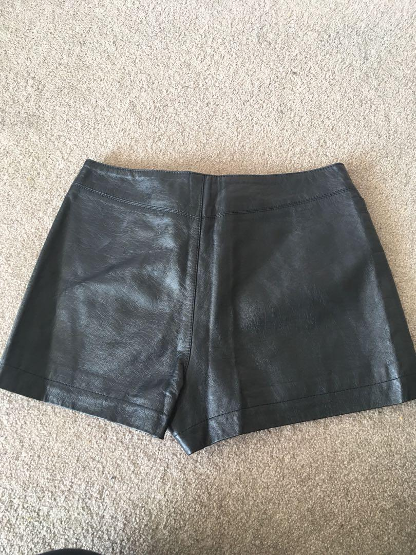 Topshop leather look shorts