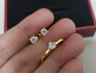 Solo Diamond Ring and Earrings Set