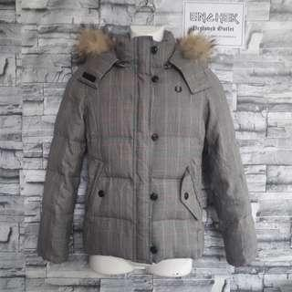 Rare! Fred Perry Down Jacket with Fur Hoodies Size M