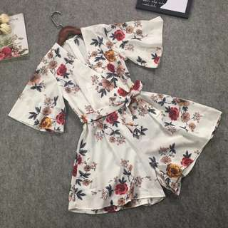 a57e7b09d153 Korean version of the jumpsuit high waist was thin V-neck chiffon floral  jumpsuit wide