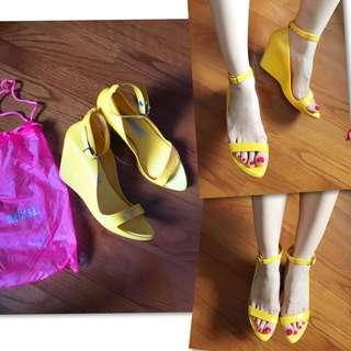 Melissa Crossover Yellow Wedges High Heels 黃色船踭鞋