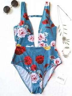 Zaful Floral One Piece Swimsuit