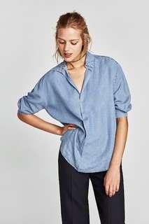 Zara flowing V-neck blouse