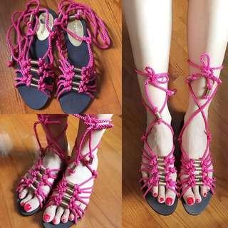 🆕Topshop Pink Lace-Up Sandal Shoes 桃紅綁帶涼鞋
