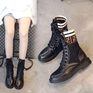 European station retro chic booties autumn 2018 new British wind short boots female autumn stretch socks with motorcycle boots