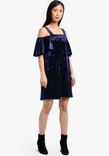 Off Shoulder Dress Velvet Cold Shoulder Dress Mango