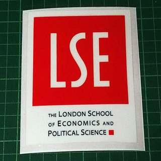 Surplus to Custom Orders - Static Cling Decals (LSE London School of Economics and Political Science, The University of Nottingham, Massey University & University of Sydney). 11cm diameter. $6 each / 3 for $15. Free Normal Mail. Add $2.90 for AM Mail.