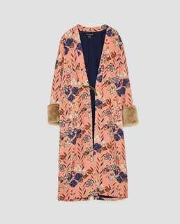 Zara Printed Kimono With Fur Long Sleeves