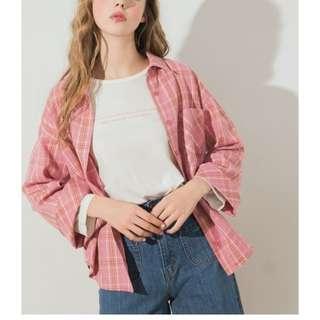 🚚 Pazzo CHIC休閒格紋寬袖襯衫