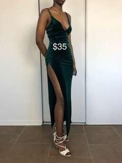 Emerald Green Velvet long dress