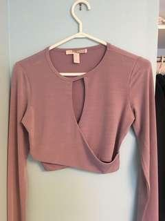 Purple crop long sleeve