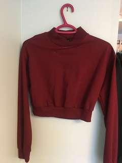 Burgundy cropped crew neck
