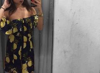 Lemon button down off shoulder flowy dress