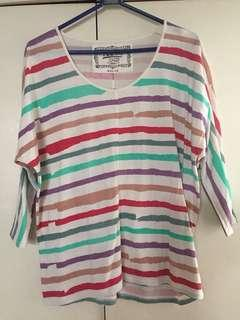 Tee striped 3/4 sleeves