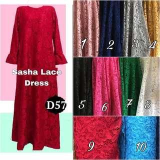 Lace long dress muslimah