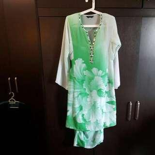 Green Chiffon Baju Kurung Moden #under90