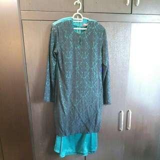 Sireh Pinang Green Lace Baju Kurung Moden #under90