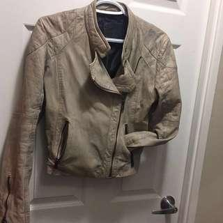 BOD & CHRISTENSEN distressed leather jacket size small S unique colour!