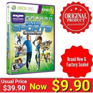 Xbox360 KINECT SPORTS 2.  Usual Price: $39.90  Clerance price : $ 9.90 +  Free Mail Postage (Brand New in box &  Factory Sealed) or Whatsapp 85992490 To Pick Up from Any Mrt Stn In Town. Last few pieces left
