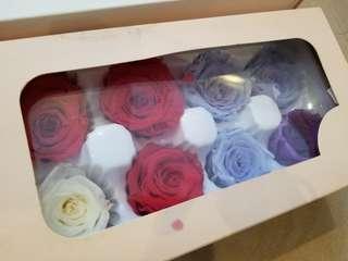 保鮮花 手作 材料 紅紫藍色 一盒或散賣 preserved flower rose red purple blue gift promotion set