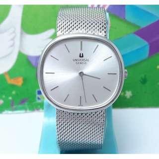 瑞士原裝宇宙UNIVERSAL原裝龍頭,原裝錶帶.不鏽鋼手動上鍊男錶