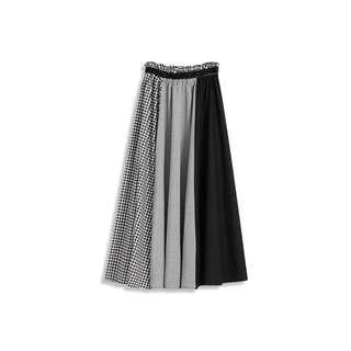 🚚 Queen Shop 腰鬆緊黑白拼接格紋長裙