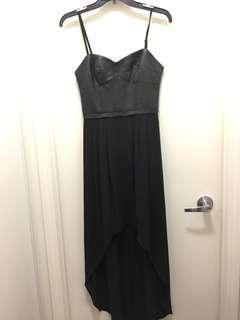 BCBG black dress with leather top sz xs