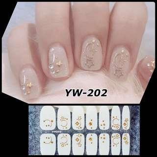 Fashion Nail Wraps Full Nail Art Sticker Press on Nail Tips Decals Women Fashion Polish Appliques