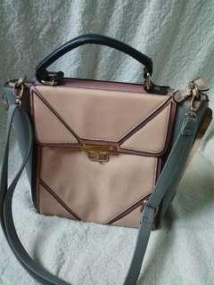 New look brand branded MAP nude sling shoulder bag tas wanita pastel peach abu