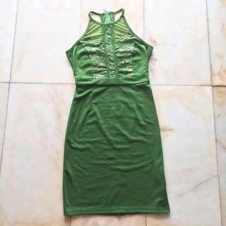 Doublewoot Green Halter Neck Dress