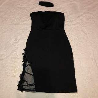Lace beaded side tube dress