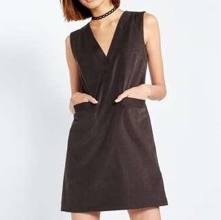 Shift dress in brown suede