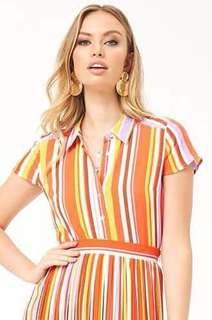 Preloved Forever21 striped crop shirt