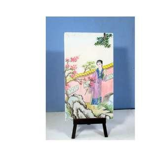 Vintage hand painted Chinese garden on glass unused old stock c 1960