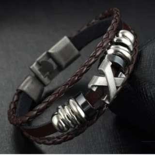 Silver X Brown Triple Bracelet (LAST INSTOCK)