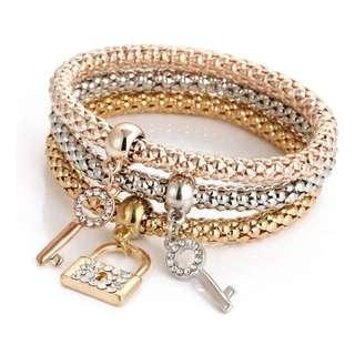 (Korea) Tri-Colour Bracelet - Lock & Keys (LAST INSTOCK)