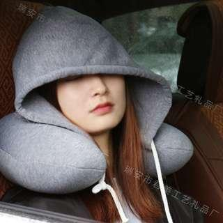Neck Pillow Travel With Hood Essentials Airplane Vacation
