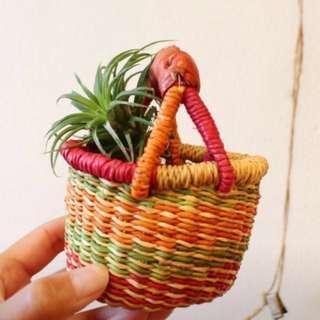 Handmade African Bolga basket miniature mini market tote bag produce planter hamper eco